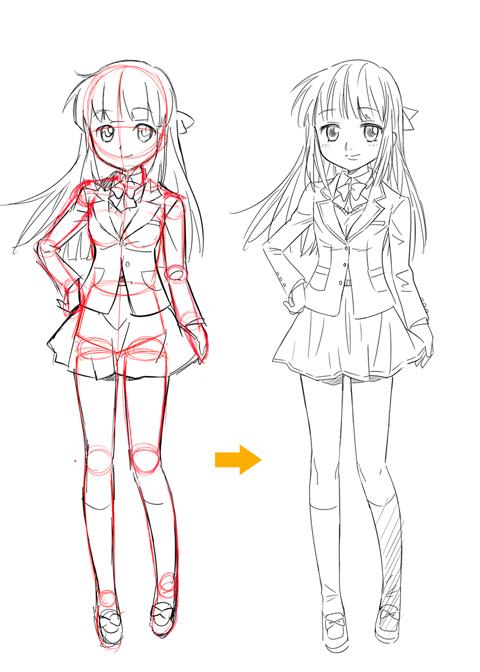 0から描く簡単な体の描き方アニメマンガ風キャラの描き分け