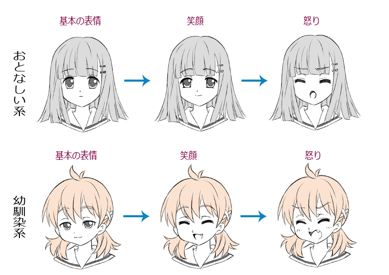 簡単女の子の描き方色々な顔の描き分けポーズの描き方